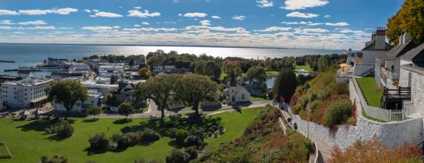 panoramic view of mackinac island - mackinac island stock photos and pictures