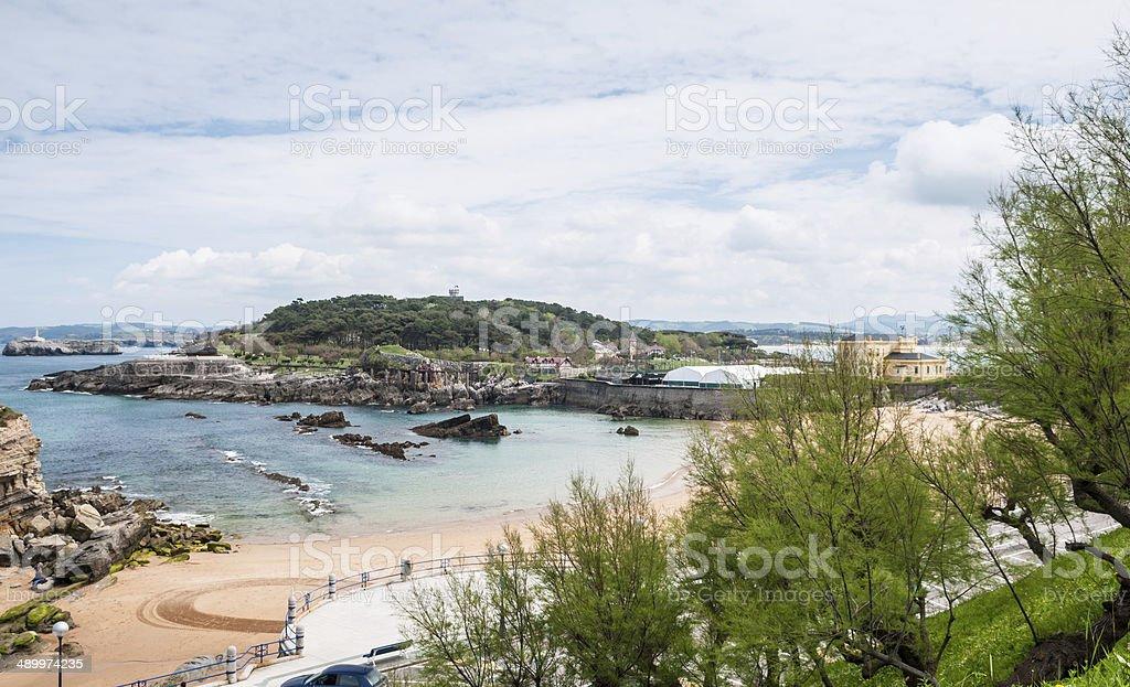 Panoramic view of Magdalne Peninsula, Santander, Spain stock photo