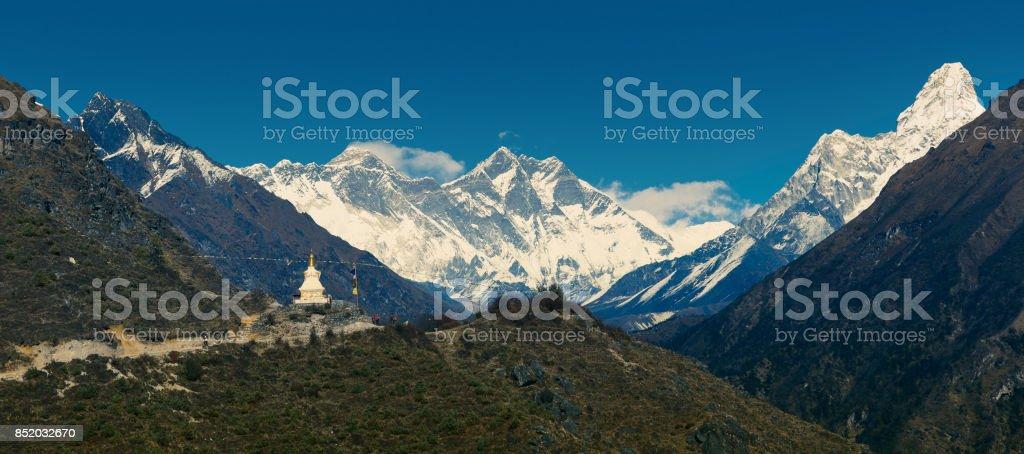 Panoramic view of main himalayan range stock photo