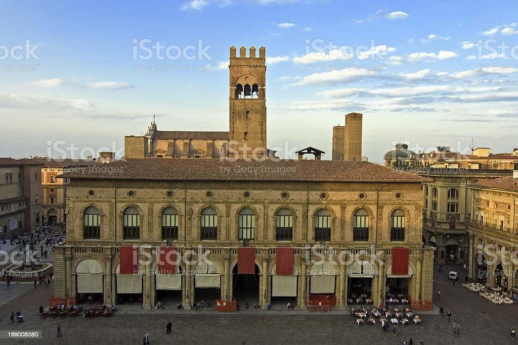 panoramic view of main square - bologna, italy royalty-free stock photo