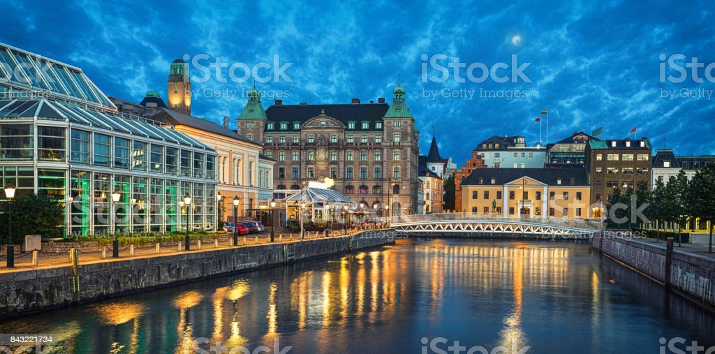 Panoramic view of Malmo skyline from canal stock photo