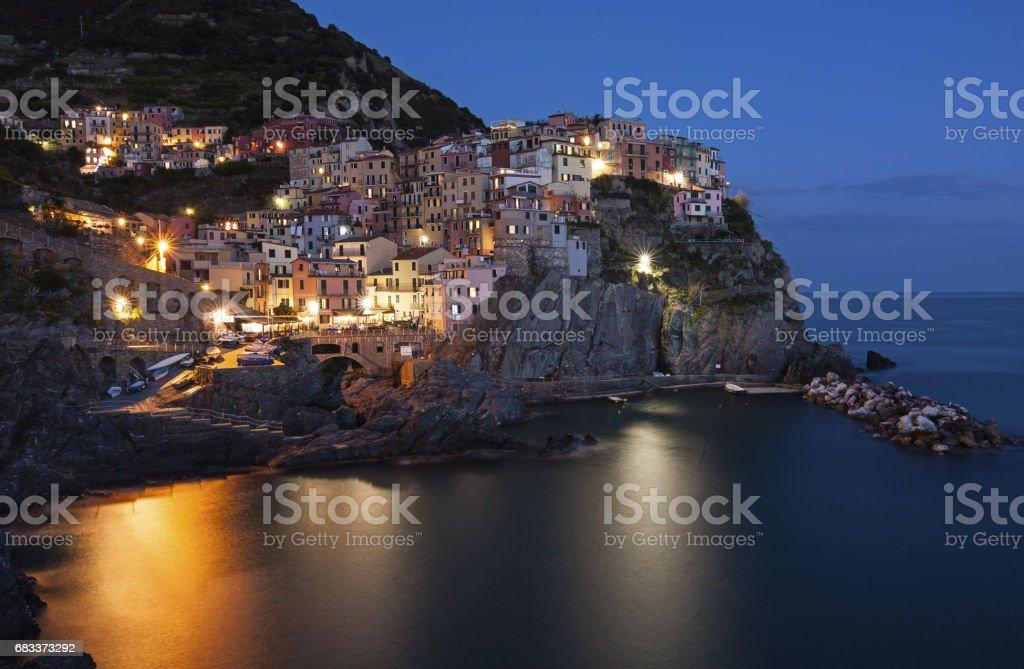 Panoramic view of Manarola - Italy, Liguria stock photo