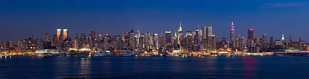 Panoramic View of Manhattan at Twilight stock photo