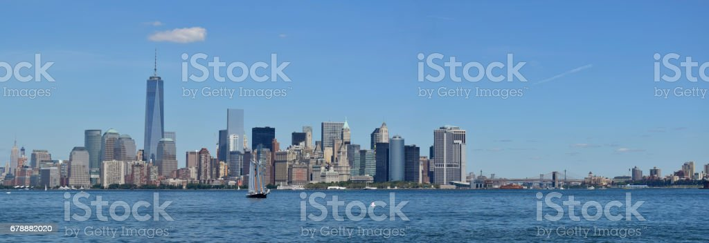 A Panoramic View of Manhattan from Liberty Island royalty-free stock photo