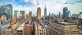 New York city skyline. Aerial panoramic view of Manhattan skyscrapers and Empire state building, blue sky with clouds background