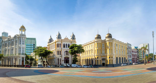 Panoramic view of Marco Zero Square at Ancient Recife district - Recife, Pernambuco, Brazil stock photo