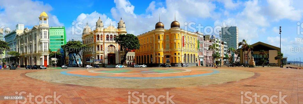 Vista panorâmica da Praça do marco zero em Recife, Pernambuco, Brasil - foto de acervo