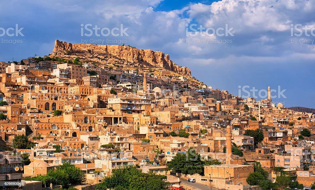 Panoramic view of Mardin, Turkey stock photo