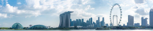 Panoramic view of Marina Bay Sands in Singapore city. – zdjęcie