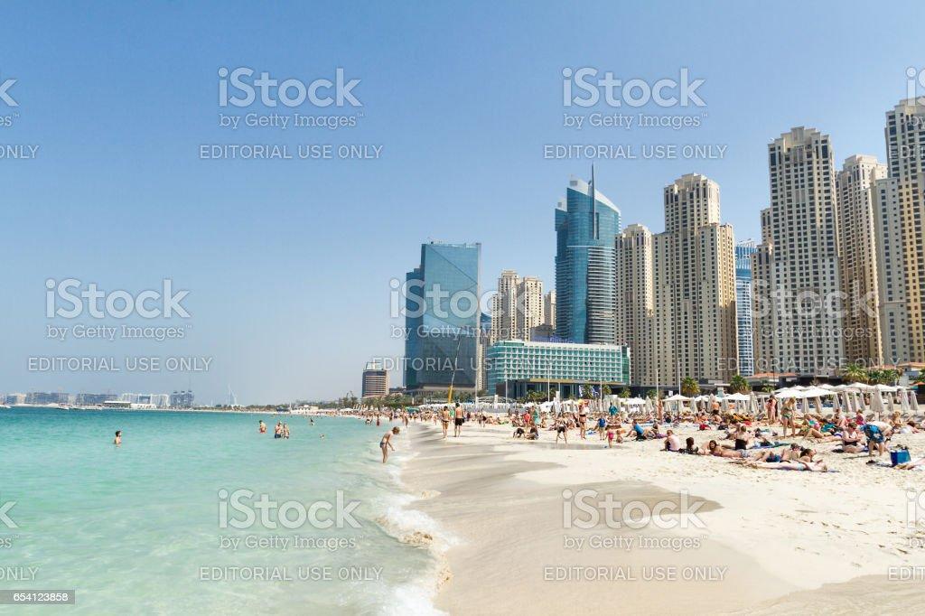 Panoramic view of Marina Beach in Dubai stock photo