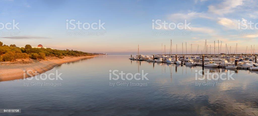 Panoramic view of marina in Nuevo Portil, Huelva, Spain. stock photo
