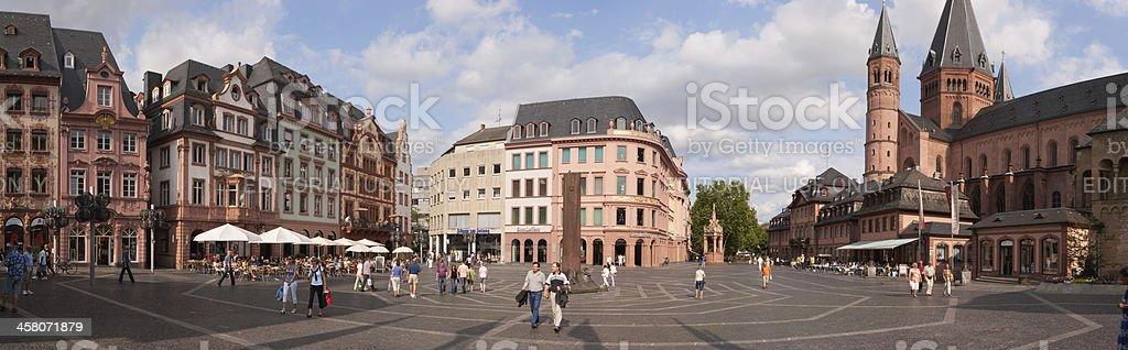 Panoramic view of Marktplatz in Mainz stock photo