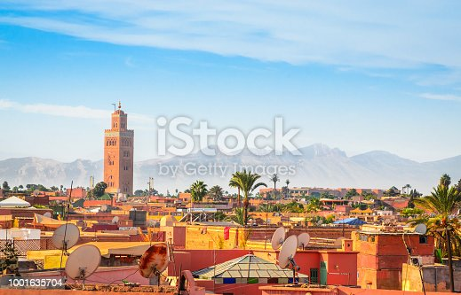 istock Panoramic view of Marrakesh and old medina, Morocco 1001635704