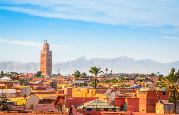 panoramautsikt över marrakech och gamla medina, marocko - marocko bildbanksfoton och bilder