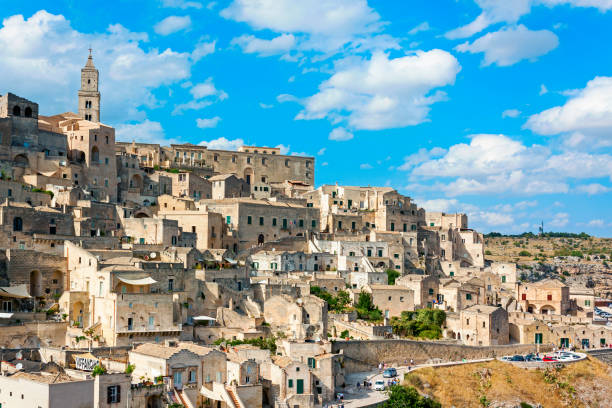 Panoramic view of Matera - italy Panoramic view of Matera - Italy mattock stock pictures, royalty-free photos & images