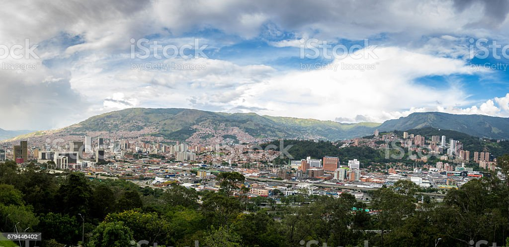 Panoramic view of Medellin, Colombia stock photo
