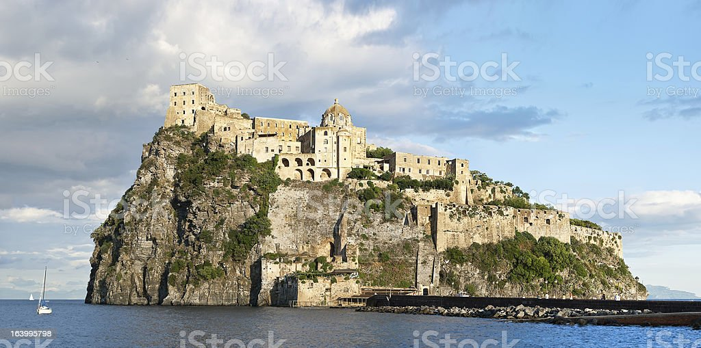 Panoramic view of medieval Aragonese castle, Ischia island - Italy stock photo