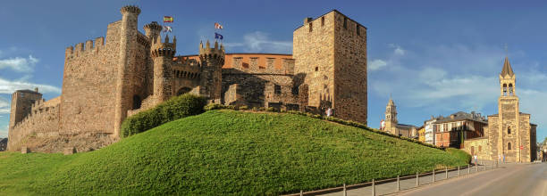 panoramic view of medieval castle in ponferrada, spain - knights templar stock pictures, royalty-free photos & images