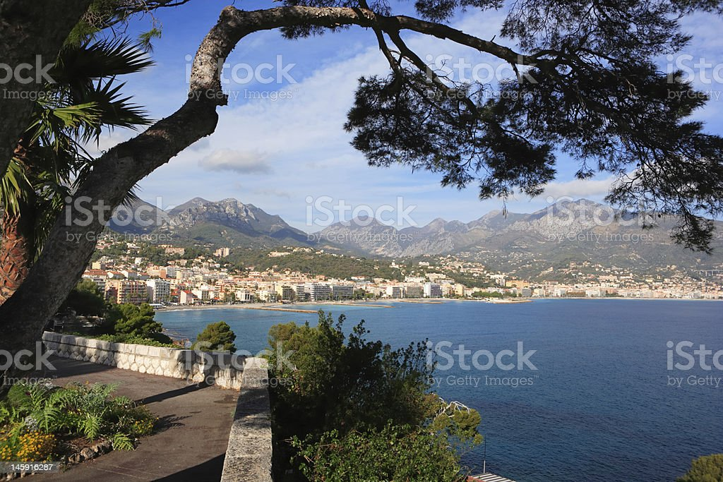 panoramic view of Menton and mediterrenean coast, French Riviera, France stock photo
