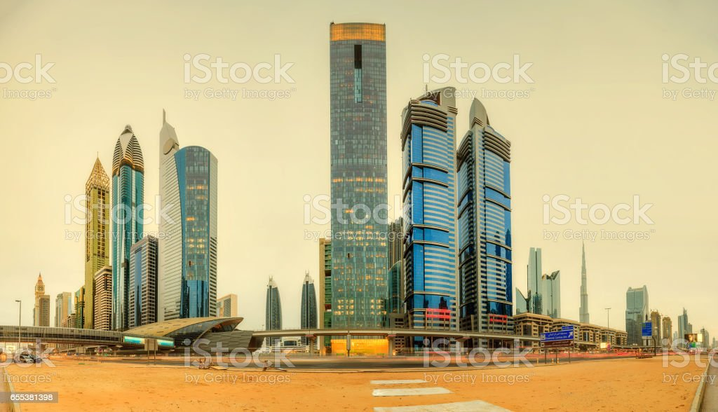 Panoramic view of metro station in Financial district, Dubai, UAE stock photo