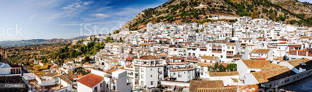 Panoramic view of Mijas stock photo