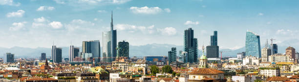 panoramic view of milan in summer from above, italy - milano foto e immagini stock