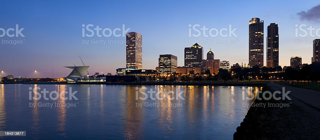 Panoramic View of Milwaukee at Dusk royalty-free stock photo