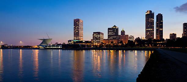 Panoramic View of Milwaukee at Dusk stock photo