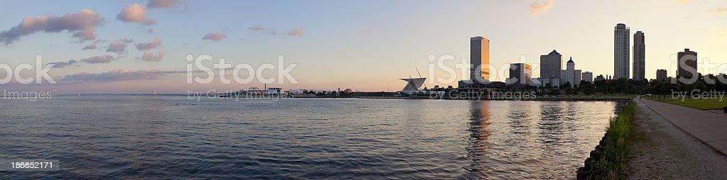 Panoramic View of Milwaukee at Sunset stock photo
