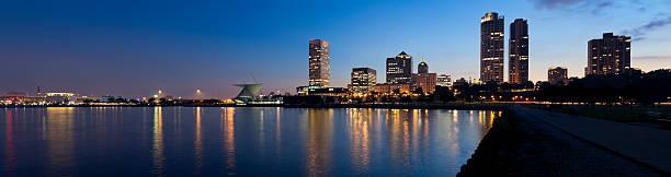 Panoramic View of Milwaukee at Twilight stock photo