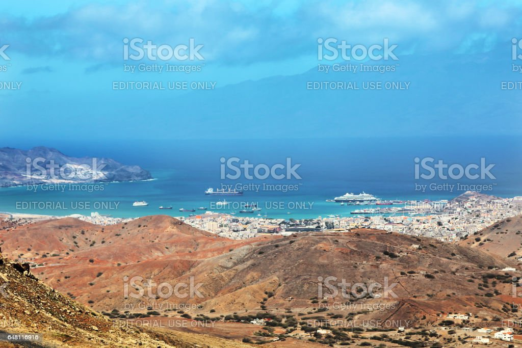 Panoramic view of Mindelo City, Cape Verde stock photo