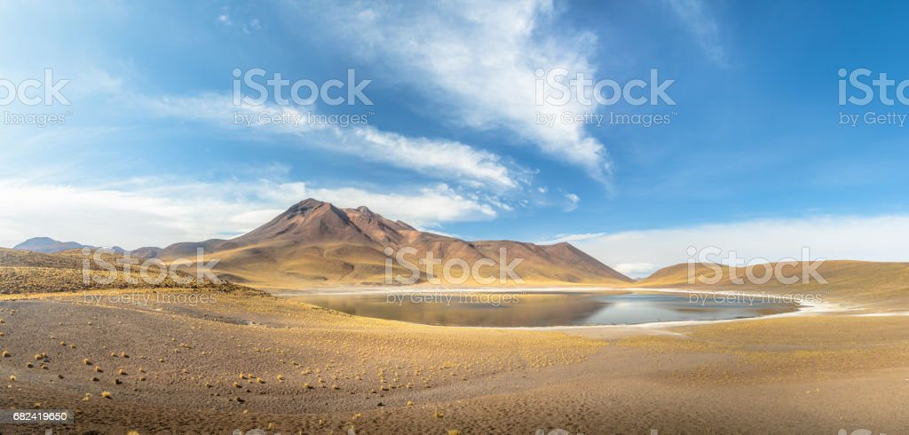 Panoramic view of Miniques Lagoon and Volcano - Atacama Desert, Chile royalty-free stock photo
