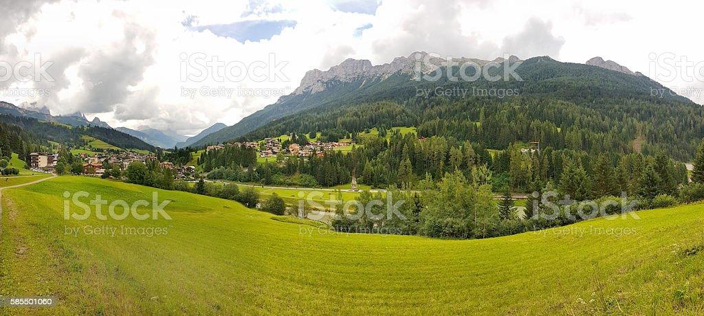 Panoramic view of Moena - Trentino Alto Adige - Italy stock photo