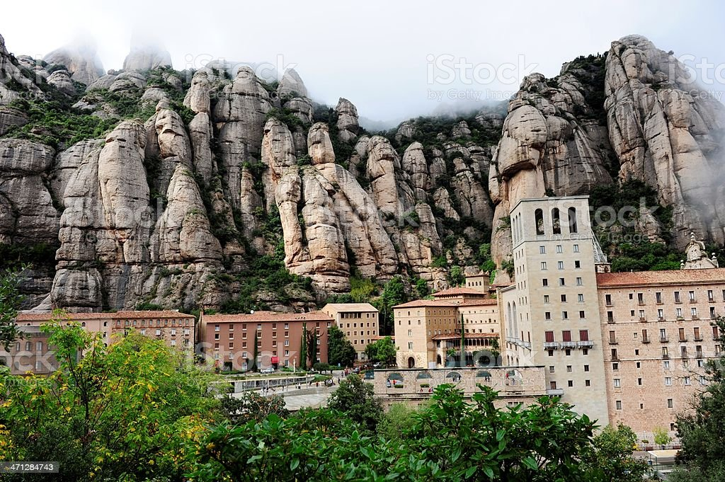 Panoramic view of Monserrat Monastery stock photo