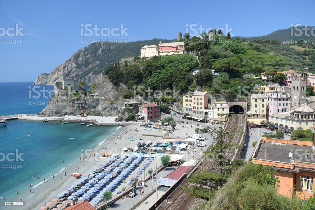 panoramic view of Monterosso al Mare with beach and railway, in Cinque Terre, Italy stock photo