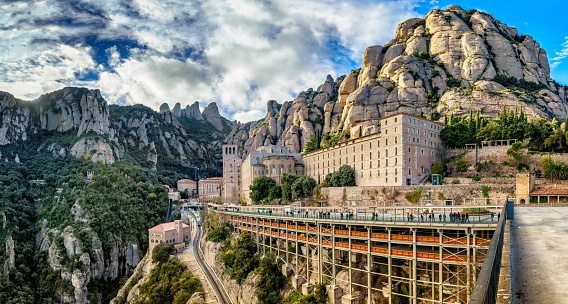 Panoramic view of Montserrat monastery and the geology formations in the mountains, Barcelona, Spain