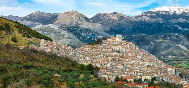Panoramic view of Morano Calabro stock photo