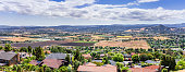 Panoramic view of Morgan Hill, a mainly residential and agricultural town in Santa Clara County, California; residential neighborhood visible in the foreground