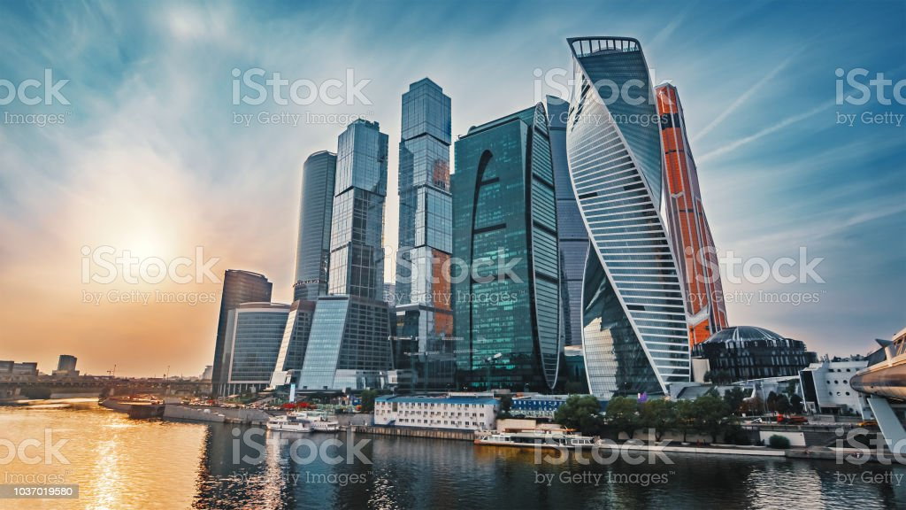 Panoramic View Of Moscow City And Moskva River At Sunset New Modern Futuristic Skyscrapers