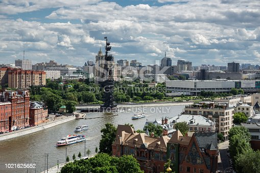 MOSCOW, RUSSIA - June 9, 2018: Panoramic view of Moscow river and monument to Peter the Great