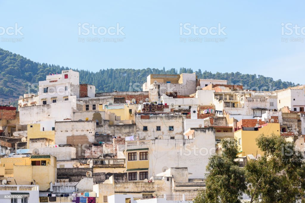 Panoramic view of Moulay Idriss, the holy town in Morocco, named after Moulay Idriss I arrived in 789 bringing the religion of Islam stock photo