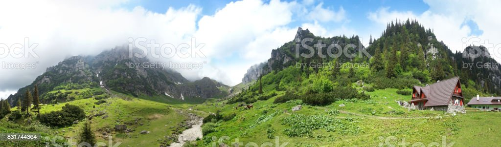 Panoramic view of Mount Bucegi on summer stock photo