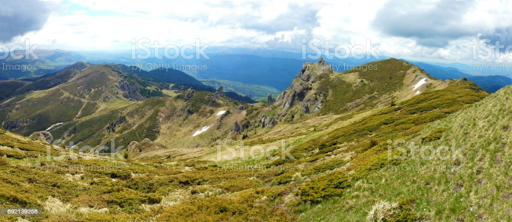 Panoramic view of Mount Ciucas on spring stock photo