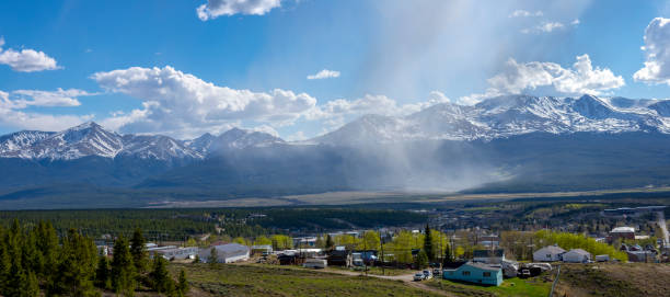 Panoramic View of Mount Elbert and Mount Massive Colorado Rocky Mountain Panorama Leadville minturn colorado stock pictures, royalty-free photos & images