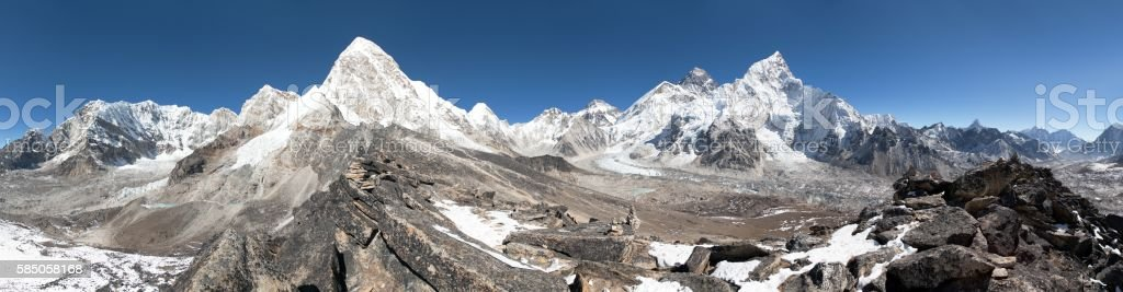 Panoramic view of Mount Everest, Lhotse stock photo