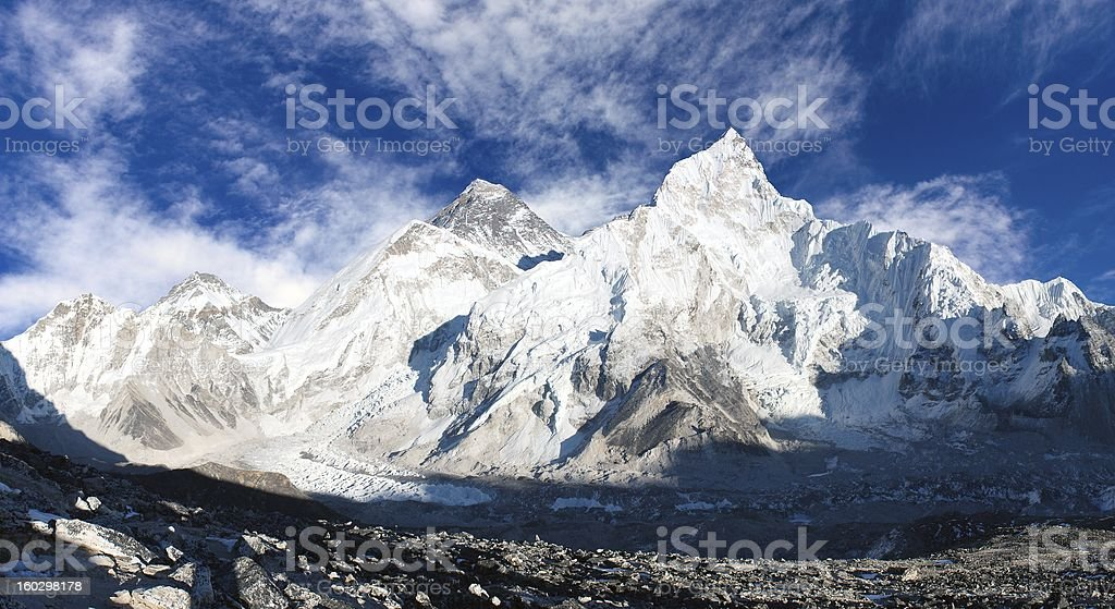panoramic view of Mount Everest royalty-free stock photo