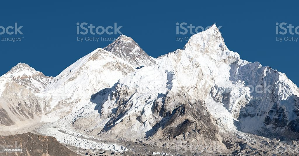 panoramic view of Mount Everest with beautiful sky stock photo