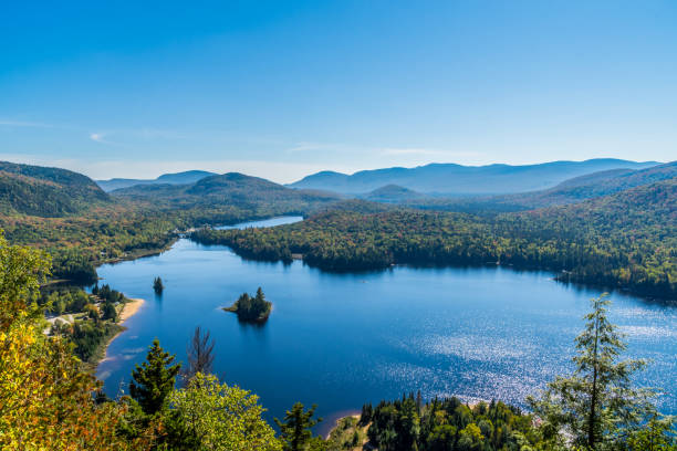 Panoramic view of Mount Tremblant Park and Lake Monroe