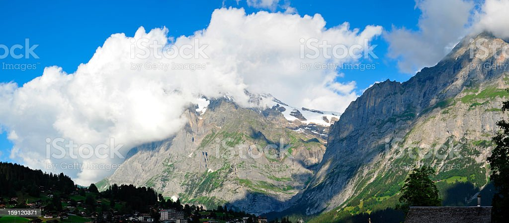 Panoramic View of Mountain in Grindelwald, Switzerland royalty-free stock photo