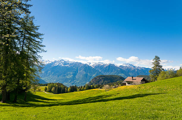 Panoramic view of mountain valley in Italian Alps